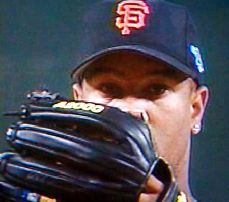 DCP02594.JPG: Livan Hernandez is the starting pitcher for the Giants.