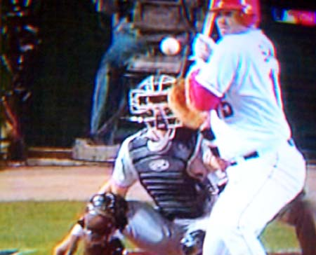 DCP02600.JPG: Salmon gets hit on the hand by Livan Hernandez to load the bases with nobody out in the bottom of the third, starting up the Giants' bullpen.