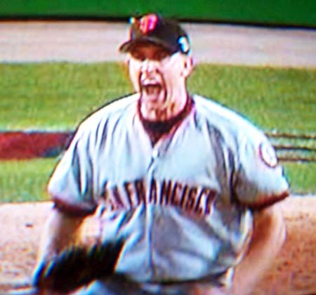 DCP02607.JPG: Rueter after Jeff Kent makes a diving catch on a line drive to the left of second base to end the bottom of the 6th inning.