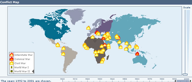 Conflict map: An interactive map of conflicts over the last century from the Nobel e-Museum